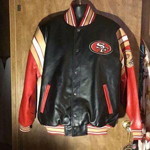 NWT Faux Leather 49er Varsity Jacket